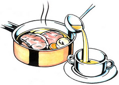 Put a ladleful of beef broth from the pot into your bowl